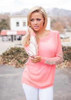 Party Sequins Patch Sweater CORAL