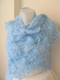 Christmas gift -Crochet shawl- Blue shawl -LIGHT BLUE MOHAIR tringle shawl..wedding bridal shawl.knitting,
