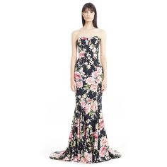 Dolce&Gabbana Floral Print Strapless Charmeuse Gown ($5,995) ❤ liked on Polyvore featuring dresses, gowns, white ball gowns, white strapless gown, white bustier, floral evening gown and white dress