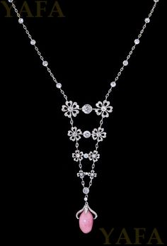 Diamond and 1 Conch Pearl Necklace