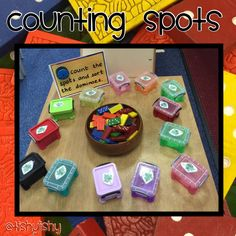 Maths activity - count the spots and sort into little boxes