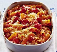 A simple Chicken and chorizo pasta bake recipe for you to cook a great meal for family or friends. Buy the ingredients for our Chicken and chorizo pasta bake recipe from Tesco today. Chorizo Pasta Bake, Chicken And Chorizo Pasta, Tomato Pasta Bake, Sausage Pasta, Sausage Meals, Tuna Pasta, Bbc Good Food Recipes, Cooking Recipes, Healthy Recipes