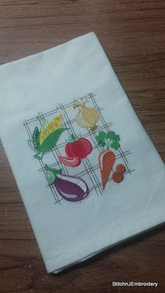Vegetable collage  White Cotton Kitchen Tea Towel by StitchnJEmbroidery on Etsy
