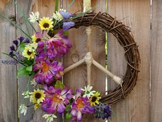 Peace Sign Natural Grapevine Wreath Butterfly by ArtfullyYours1973