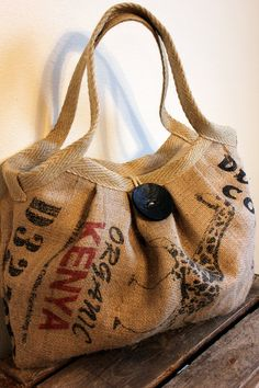 Eco-Friendly Burlap Coffee Sack Bag with Large Button and Hemp Webbing. $75.00, via Etsy.