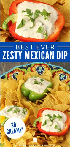 Oh this dip! It is so fresh and creamy. The base is sour cream and you add ranch powder and taco seasoning and cheese! The spice comes from Rotel  - you know you love it! This is so easy to whip up when you are in a hurry and it feeds a crowd! And yes, if you wanna get fancy you an serve it in bell peppers. Just don't be surprised if people eat the peppers when the dip gets low - it is good on veggies as well as chips! #ranch #dip #appetizer #mexican Mexican Dips, Mexican Appetizers, Mexican Food Recipes, Easy Summer Desserts, Summer Recipes, Ranch Powder, Kids Meals, Easy Meals, Healthy Dinner Options