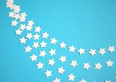 White stars paper garland Wedding party babyshower nursery kids room photo props by TransparentEsDecor