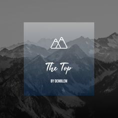 This is a mockup social media cover with a mountain background. Contains a mountain logo designed by demblem.