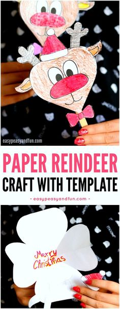 Paper Reindeer Craft With Printable Template for Kids to Make. Super fun Christmas paper activity for kids. Christmas Crafts For Kids To Make, Craft Projects For Kids, Paper Crafts For Kids, Christmas Paper, Kids Christmas, Holiday Crafts, Fun Crafts, Christmas Cards, Diy Paper