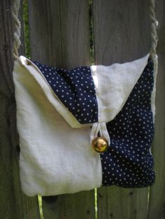 Blue and beige  nautical theme bag with vintage by elainenthesun, $15.00