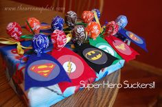 Super suckers for party favors. Superhero Party from @slkooiman at Arena Five