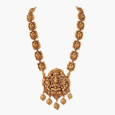 #A Superb Lakshmi Pendant# with swan motif in the chain,#Jewels from South IndiaSaffronart