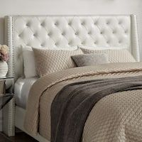 Aurora Faux Leather Crystal Tufted Nailhead Wingback Headboard Queen Size in Ivory White by iNSPIRE Q Bold (As Is Item) (Queen Headboard - Ivory White) Bedroom Furniture Stores, Furniture Deals, Bedroom Decor, Teen Bedroom, Ivory Bedroom Furniture, Glam Bedroom, Furniture Nyc, Bedroom Bed, Master Bedrooms
