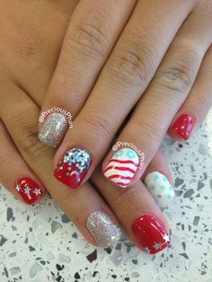 Glitter, ombre, stars, red white and blue, 4th of July nails