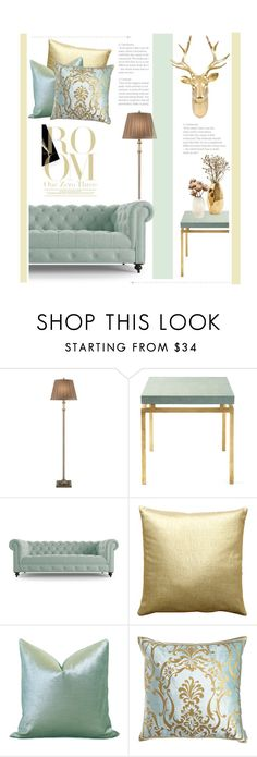 """Light Mint and Gold"" by zaycelik on Polyvore featuring interior, interiors, interior design, home, home decor, interior decorating, JAlexander, Serena & Lily, Joybird and Pillow Decor"