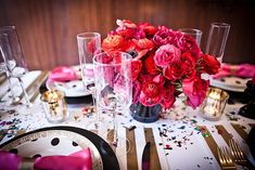 Black, white, gold and shades of pink.