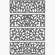 A collection of ornamental perforated rail patterns from the Elizabethan era.