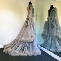 "Boudoir by D'Lish — ""Cassandra"" Extravagant Dove Grey Marabou Dressing Gown (pre-order!)"