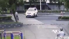 "giffindersite: ""Lucky cyclist survived after a van speed towards him. via Gif-Finder.com """
