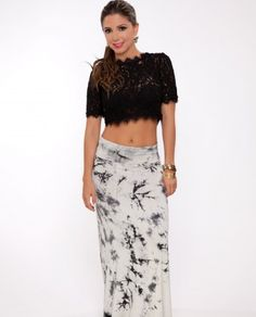 White And Grey Tie Dye Maxi Skirt