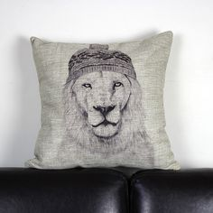 B&W hand drawing Lion Cushion Cover - $20 with shipping! Check out our board for more stylish covers!