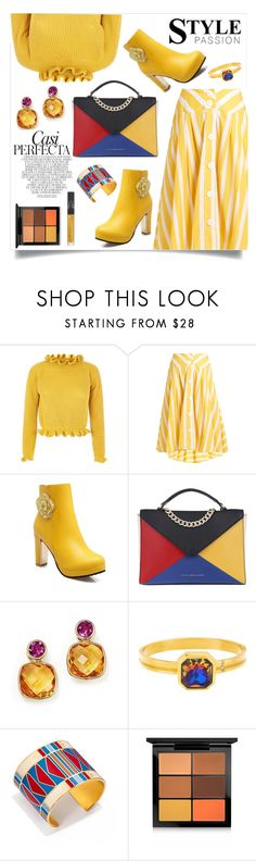 """""""Marvelous Mustard"""" by alyssatama ❤ liked on Polyvore featuring Thierry Colson, Tommy Hilfiger, Steve Madden, Whiteley, Tory Burch, MAC Cosmetics and NARS Cosmetics"""
