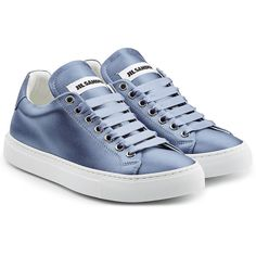 Jil Sander Satin Sneakers (3.495 NOK) ❤ liked on Polyvore featuring shoes, sneakers, blue, urban sneakers, polish shoes, jil sander sneakers, lace up shoes and low profile shoes