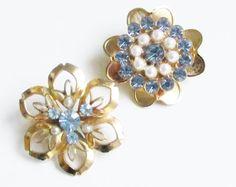 Vintage Blue Rhinestone Pearl Brooches de by GrandVintageFinery, $11.95