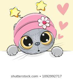 Greeting card cut Cat with hearts. Greeting card cute Cartoon Cat Girl with hearts stock illustration Animal Drawings, Cute Drawings, Cute Girl Image, Black Cat Silhouette, Cut Cat, Cute Cartoon Girl, Cartoon Art, Cartoon Characters, Couple Cartoon