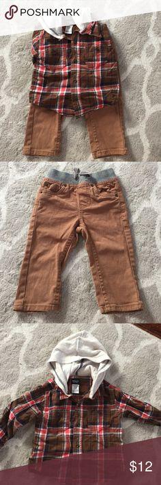Flannel shirt and khaki pants EUC Carters flannel shirt, 12 months, and Cherokee brand khakis, 12 months Carter's Matching Sets