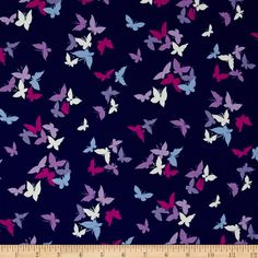 Michael Miller Sea Holly Flutter by Clouds Navy from @fabricdotcom  Designed by Sarah Campbelll for Michael Miller, this cotton print fabric is perfect for quilting, apparel and home decor accents. Colors include navy, shades of purple, pink, blue and cream.