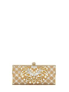 Beaded crystal body with floral detail and pearl accents~Channeled Rectangle Clutch by Judith Leiber