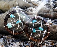 Sea Gypsy Dreamcatcher Turquoise Coconut Shell by UnderTheTreeShop