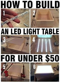 If you want to build a fun and easy woodworking project, this one is for you. This LED light table is made from a simple wooden frame. Inside the frame bright LED strip lights are attached to the wood. Easy Woodworking Projects, Woodworking Plans, Wood Projects, Craft Projects, Youtube Woodworking, Woodworking Techniques, Woodworking Videos, Woodworking Organization, Woodworking Quotes