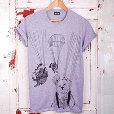 Parachute Unisex Grey Marl T-Shirt #mensgiftideas #giftsformen #tshirt #statementtees #illustratedtees #illustration #bears #parachutes