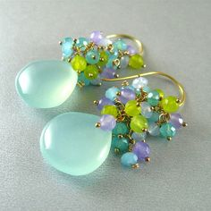 Aqua Chalcedony Cluster Wire Wrapped Sterling by SurfAndSand