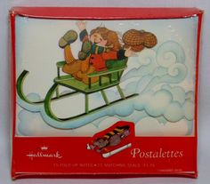 Collectible Christmas Postalettes 15 Hallmark Note Cards Sealed Box Boy on Sled