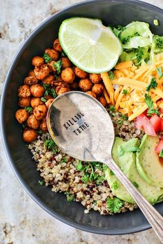This Taco Grain Bowl With Crispy Chipotle Chickpeas | Killing Thyme  (skip/sub the cheese and sub the yogurt)