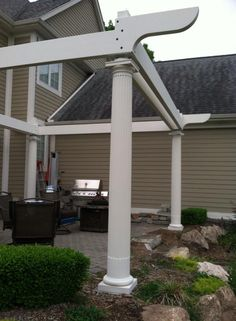 Construction - first 6 beams - SPAX from beam to post and bracket to post, and GRK from bracket to beam. Wood filler added later over countersunk fastener heads. Curved Pergola, Rainbow Light, Strip Lighting, Beams, Construction, Outdoor Structures, Led, Lights, Outdoor Decor