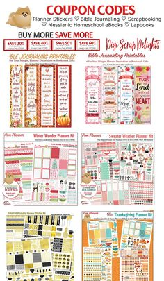 #couponcodes #plannerstickers #plannerlove #planneraddict #homeschool #biblejournaling #Messianic #thanksgiving #digital #clipart