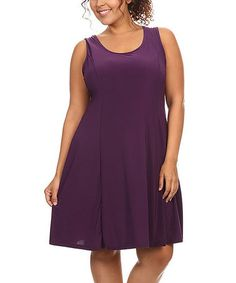 Purple Sleeveless Dress - Plus #zulily #zulilyfinds