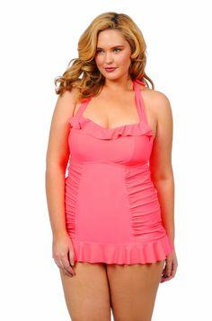 Jessica Simpson Sea Glass Plus Size Swim dress