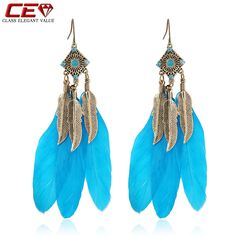 Brand Blue Feather Earrings For Women Vintage Long Bohemian Pendientes Mujer Fashion Jewelry Brincos boucle d'oreille oorbellen-in Drop Earrings from Jewelry & Accessories on Aliexpress.com | Alibaba Group