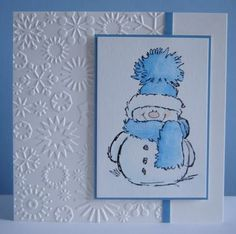 Stamp by Penny Black Snowflakes embossing folder by Cuttlebug by elinor
