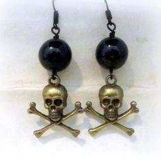 Gothic Black Earrings Skull Jewelry Gothic Earrings by pink80sgirl
