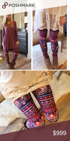 Coming Wednesday! Paisley feather print leggings Soft brushed knit. 92% polyester 8% spandex. One size Fits size S-L. Like to be notified of arrival. Pre- buy to be guaranteed your pair! Infinity Raine Pants Leggings