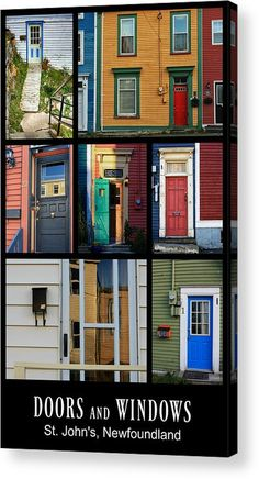 Doors and Windows in St. John's Newfoundland, Canada - Collage Poster by Tatiana Travelways