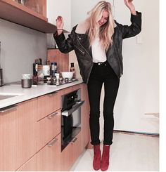 leather jacket, black skinnies, and oxblood suede boots
