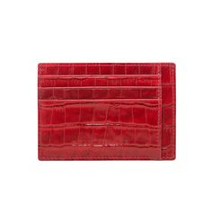 LEATHER CREDIT CARD HOLDER BILL / CROCO RED GOLDBLACK Premium Accessories
