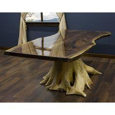 Black Walnut Slab Dining Table on Cedar Stump